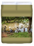 Angkor Fishing Family Duvet Cover