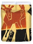 Antelope Black Ivory Woodcut9 Duvet Cover
