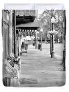 Antique Alley In Black And White Duvet Cover