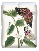 Antique Watercolor Illustration Of Nettle Butterfly In Various Life Stages Published In 1824 By M.p. Duvet Cover