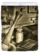 Apothecary-vintage Pill Roller Sepia Duvet Cover