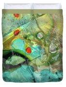 Aqua And Yellow Abstract Art - Juxtaposition - Sharon Cummings Duvet Cover