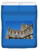 architecture of Hexham cathedral and clock tower Duvet Cover
