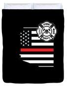 Arizona Firefighter Shield Thin Red Line Flag Duvet Cover