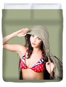 Army Pinup Saluting Retro Fashion In 1940 Style Duvet Cover