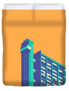 Trellick Tower London Brutalist Architecture - Plain Apricot Duvet Cover