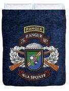 75th Ranger Regiment - Army Rangers Special Edition Over Blue Velvet Duvet Cover