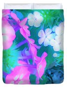 Garden Flowers In Pink, Green And Blue Duvet Cover