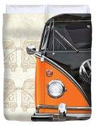 Volkswagen Type 2 - Black And Orange Volkswagen T1 Samba Bus Over Vintage Sketch  Duvet Cover