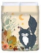 Autumn Garden Moonlit Kitty Cat Duvet Cover
