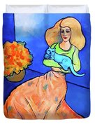 Lady With Blue Cat Duvet Cover by Stacey Mayer