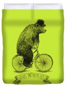 Bears On Bicycles - Lime Duvet Cover