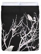 Raven - White Over Black Duvet Cover