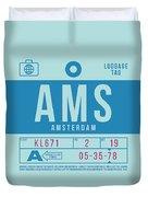 Retro Airline Luggage Tag 2.0 - Ams Amsterdam Netherlands Duvet Cover