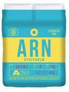 Retro Airline Luggage Tag 2.0 - Arn Stockholm Sweden Duvet Cover