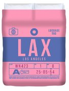Retro Airline Luggage Tag 2.0 - Lax Los Angeles International Airport United States Duvet Cover