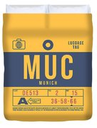 Retro Airline Luggage Tag 2.0 - Muc Munich International Airport Germany Duvet Cover