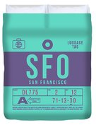 Retro Airline Luggage Tag 2.0 - Sfo San Francisco International Airport United States Duvet Cover