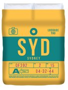 Retro Airline Luggage Tag 2.0 - Syd Sydney Kingsford Smith Airport Australia Duvet Cover