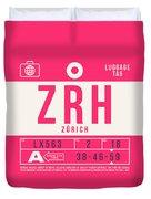 Retro Airline Luggage Tag 2.0 - Zrh Zurich International Airport Switzerland Duvet Cover