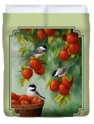Bird Painting - Apple Harvest Chickadees Duvet Cover