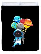 Astronaut With Planet Balloons Outta Space Duvet Cover