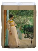 At The French Windows. The Artist's Wife Duvet Cover