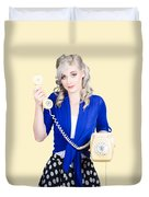 Attractive Blond Female Secretary On Vintage Phone Duvet Cover