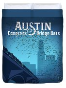 Austin Congress Bridge Bats In Blue Silhouette Duvet Cover