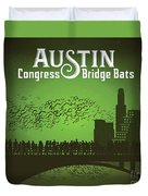 Austin Congress Bridge Bats In Green Silhouette Duvet Cover
