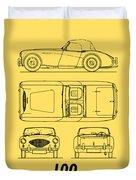 Austin Healey 100 Blueprint - Black Duvet Cover