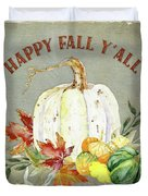 Autumn Celebration - 4 Happy Fall Y'all White Pumpkin Fall Leaves Gourds Duvet Cover