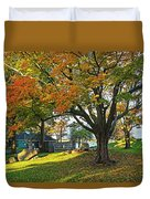 Autumn Day In The Salem Willows Salem Ma Red Duvet Cover