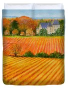 Autumn In French Vineyards Duvet Cover