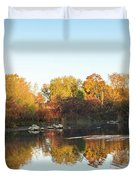 Autumn Mirror - Silky Wavelets Caused By Ducks Duvet Cover
