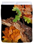 Autumn Oak Leaves And Acorns On Black Duvet Cover