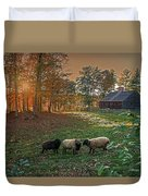 Autumn Sunset At The Old Farm Duvet Cover by Wayne Marshall Chase