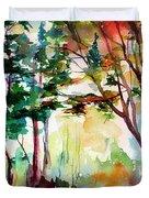 Autumn Trees Watercolors Duvet Cover