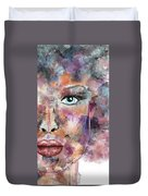 Autumn - Woman Abstract Art Duvet Cover