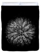 Backyard Flowers In Black And White 44 Duvet Cover by Brian Carson