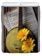 Banjo And Two Sunflowers Duvet Cover