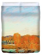 Banks Of The Seine Near Bougival - Digital Remastered Edition Duvet Cover