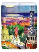 Barcelona By Moonlight Watercolor Painting By Mona Edulesco Duvet Cover