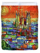 Barcelona Orange View - Sagrada Familia View From Park Guell - Abstract Palette Knife Oil Painting Duvet Cover