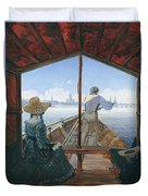 Barge Trip On The Elbe Near Dresden, Morning On The Elbe, 1827 Duvet Cover
