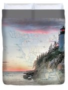 Bass Harbor Lighthouse On A Chart Duvet Cover