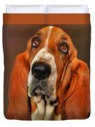 Basset Dog Portrait Duvet Cover