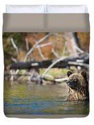 Bathing Blonde Grizzly Duvet Cover