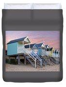 Beach Huts Sunset Duvet Cover