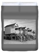 Beach Huts Sunset In Black And White Duvet Cover